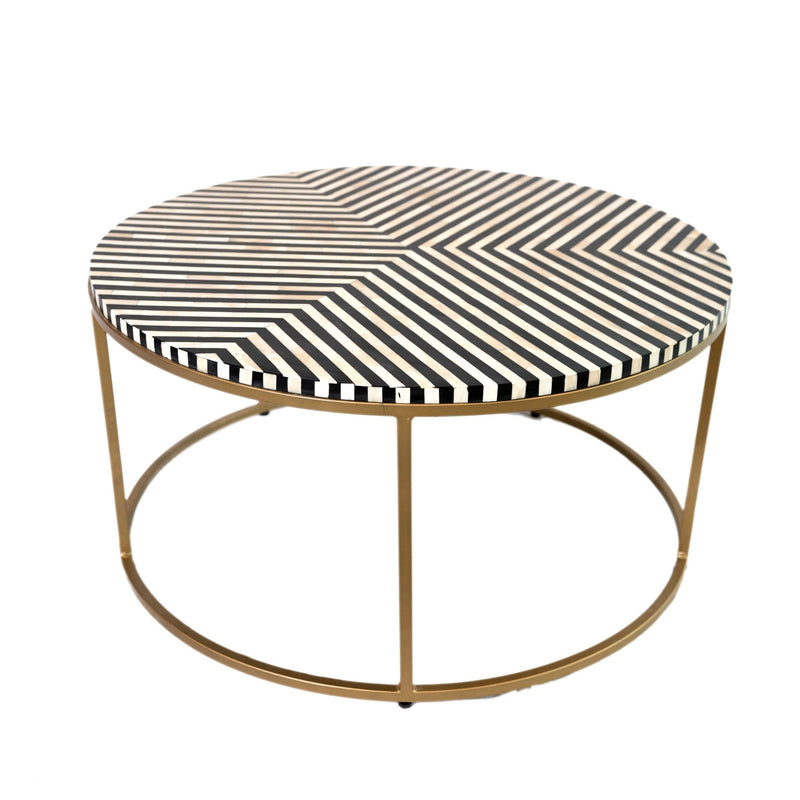 Bone Inlay Chevron Coffee Table with Brass Legs