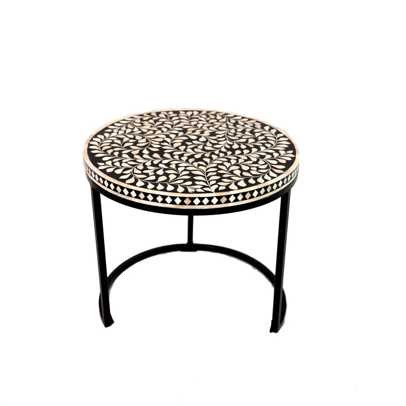 Bone Inlay Botanical Coffee Table with Iron Base