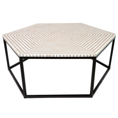 Bone Inlay Hexagon Bulls-Eye Coffee Table