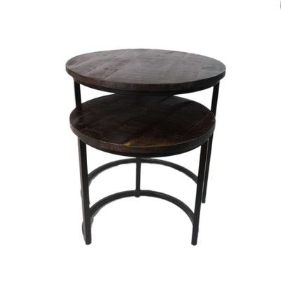 Round Brown Coffee Table (Set of 2)