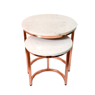 Marble Round Coffee Table with Brass Legs (Set of 2)