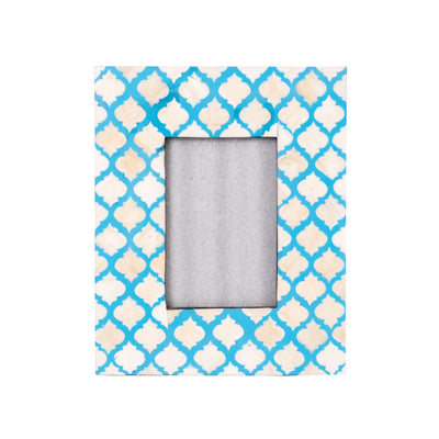 Bone Inlay Fish Scale Photo Frame (Blue)