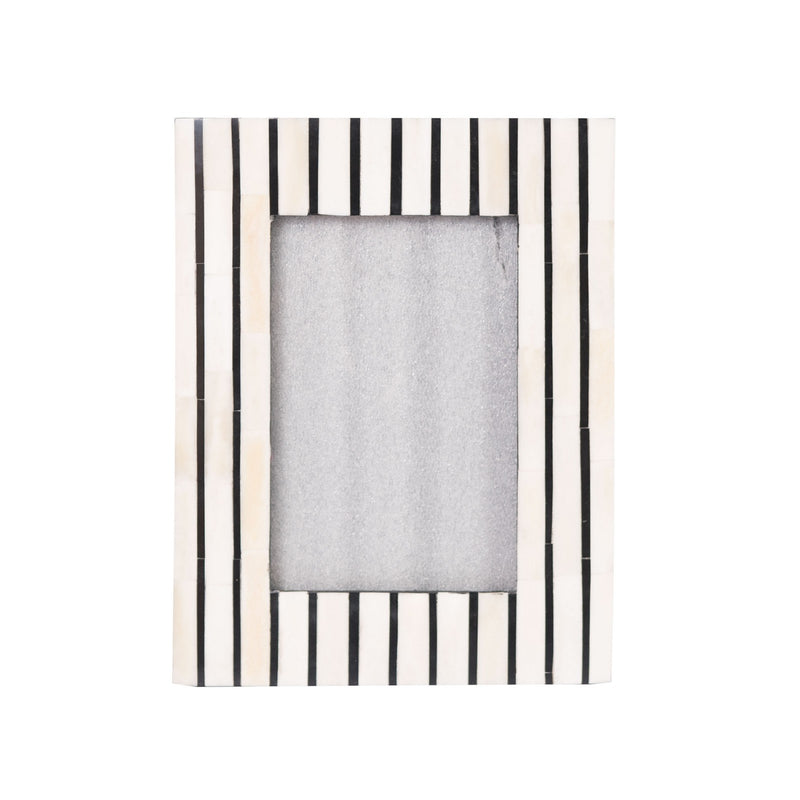 Bone Inlay Striped Photo Frame (Black)