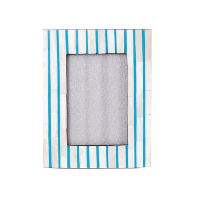 Bone Inlay Striped Photo Frame (Blue)