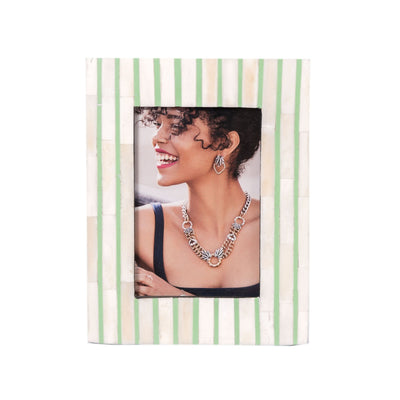 Bone Inlay Striped Photo Frame (Green)