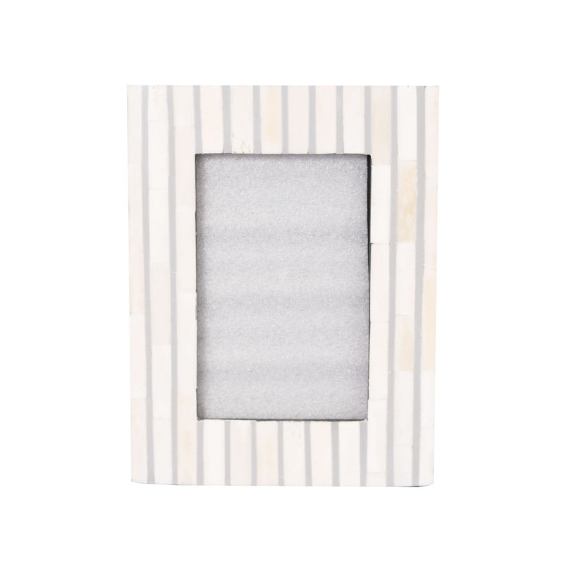Bone Inlay Striped Photo Frame (Grey)