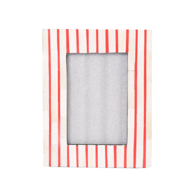 Bone Inlay Striped Photo Frame (Red)