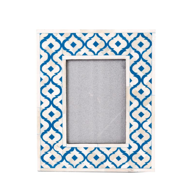 Bone Inlay Moroccan Photo Frame (Blue)