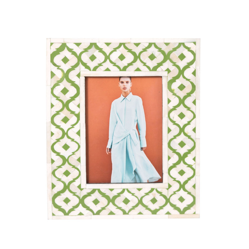 Bone Inlay Moroccan Photo Frame (Green)