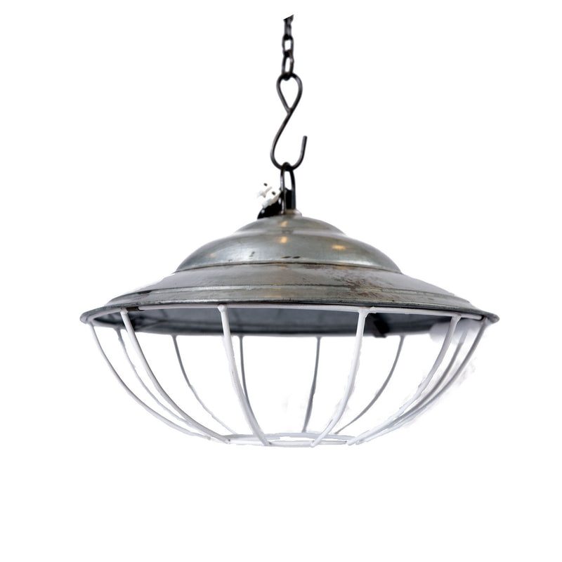 Iron Round Cage Grey Hanging Lamp