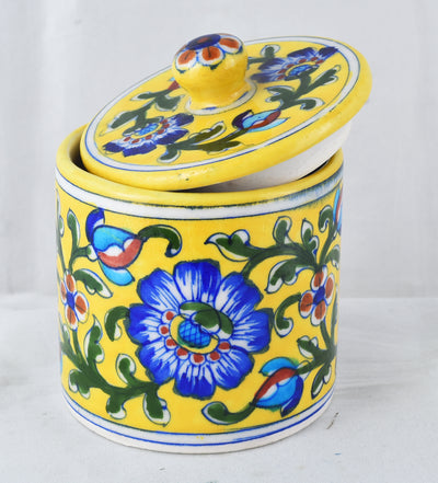 Decorative jar Yellow Floral