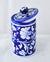 Blue botanical hand pottery jar