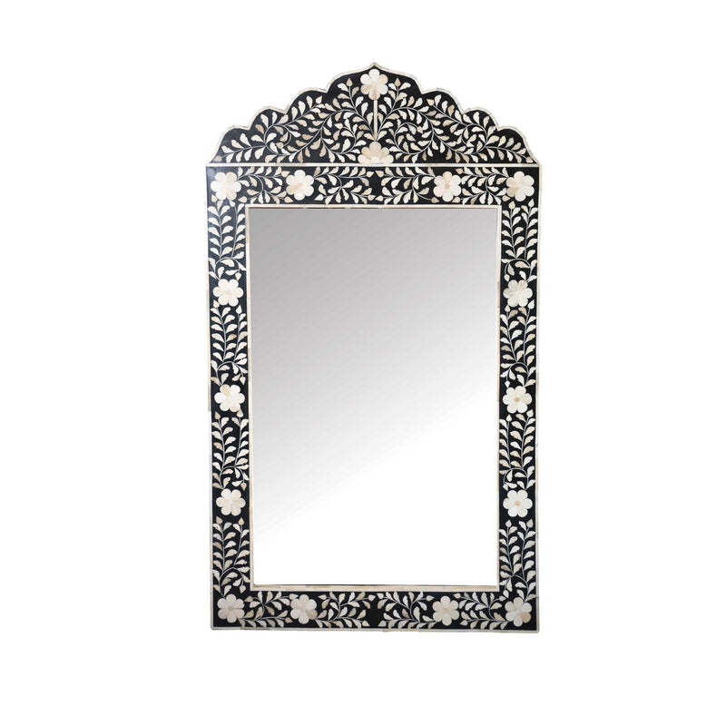 Floral Arch Bone Mirror (Black)