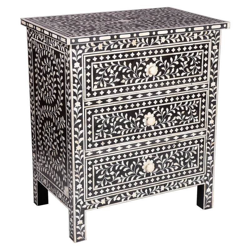 Bone inlay Floral Chest-3 Drawer (Black)
