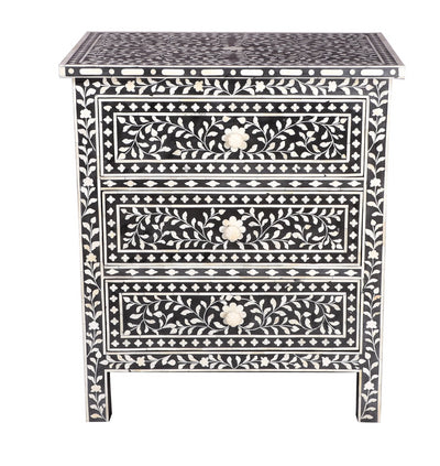Bone inlay Floral chest-3 drawer(Black)