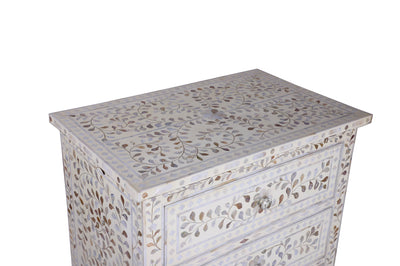Bone inlay Floral chest - 3 Drawer White