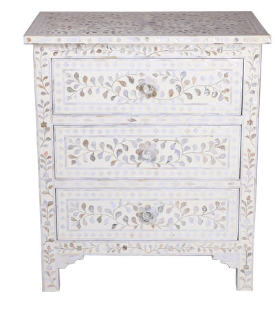 Mother of pearl Floral chest - 3 Drawer White