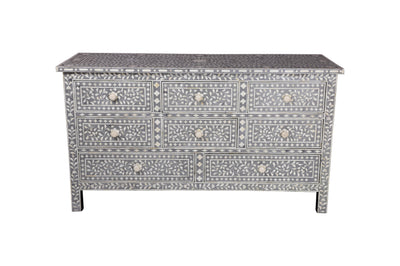 Bone Inlay Floral Chest - 8 Drawer
