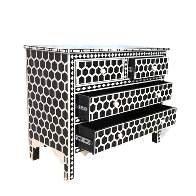 Bone inlay Hexagon  Dresser or Bone inlay chest 4 drawer