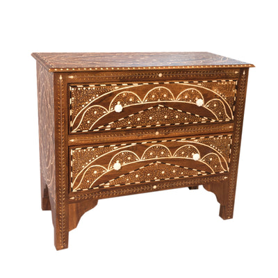 Wood Bone Side Table - 2 Drawer