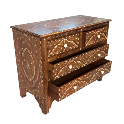 Wood Bone Side Table - 4 Drawer
