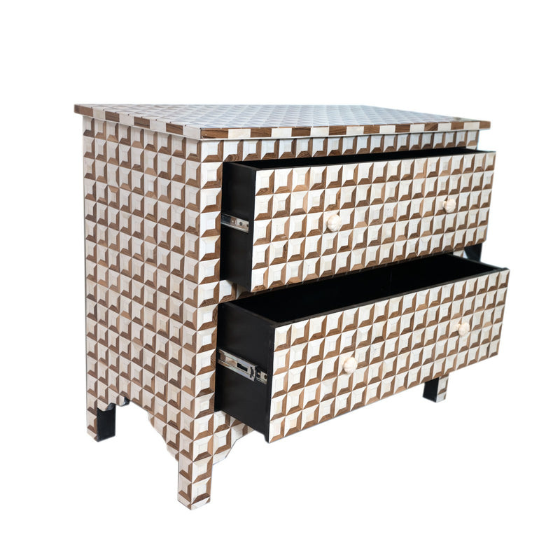 Wood & Bone Inlay MUGALE Sideboard Console - 2 Drawer