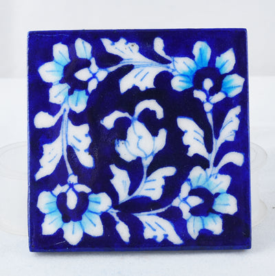 Blue floral hand made pottery coster