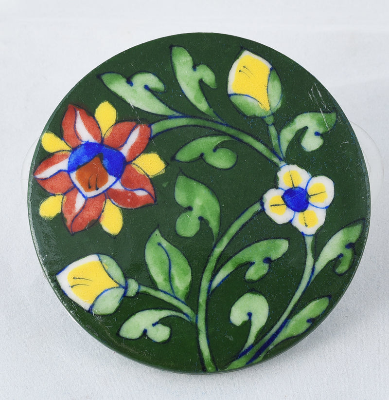 Green leafy hand made ceramic coster