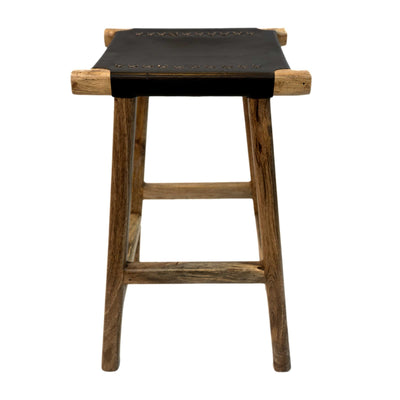 Wood + Leather LILYPAD Bar Stool (Dark Brown)