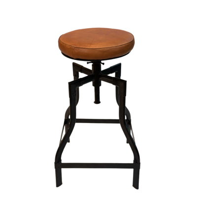 Iron + Leather VANGO Bar Stool with Adjustable Screw-Top