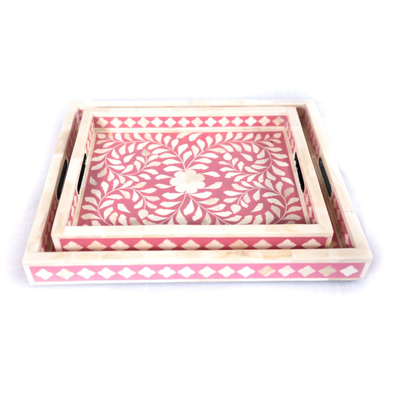Bone Inlay Floral Serving Tray (Pink)