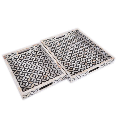 Mother of Pearl Geometric Serving Tray (Black)