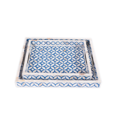 Mother of Pearl Geometric Serving Tray (Blue)