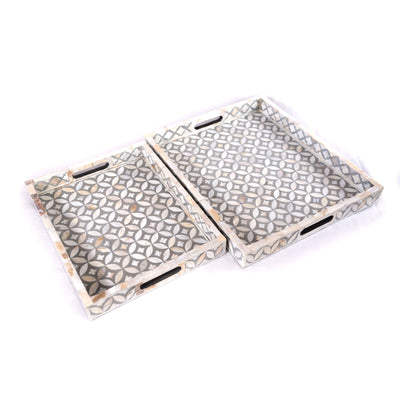 Mother of Pearl Geometric Serving Tray (Grey)