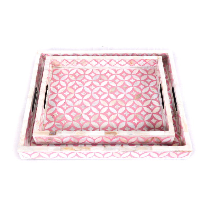 Mother of Pearl Geometric Serving Tray (Pink)