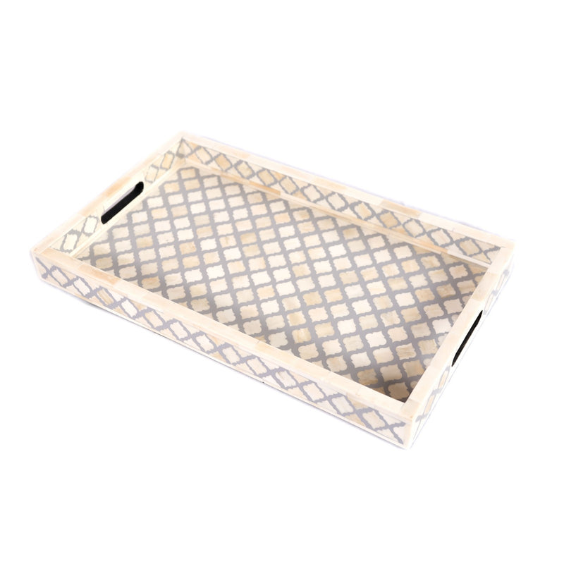 Bone Inlay Fish Scale Serving Tray (Grey)