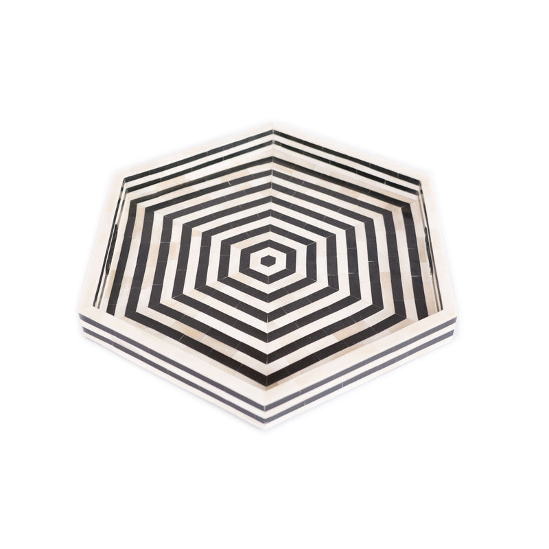 Bone Inlay Hexagon Serving Tray