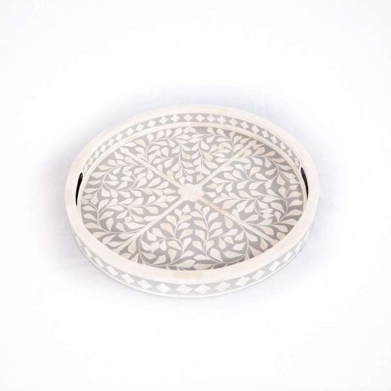Bone Inlay Round Serving Tray