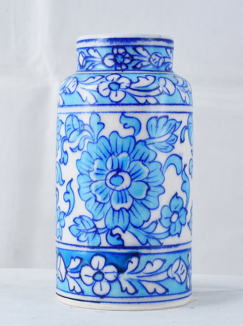 Blue floral hand made pottery vase