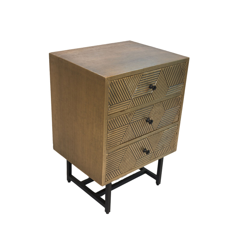 BRASS  BEDSIDE TABLE -3 DRAWER