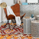 Bone Inlay Chevron Round Stool