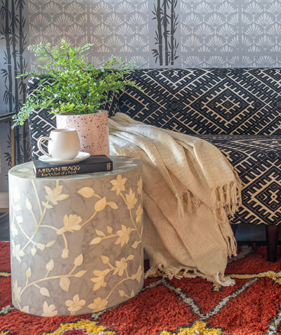 Floral Side Table (Gray)