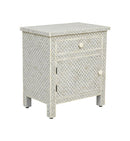 Bone Inlay Fish Scale Table in Grey