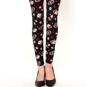 CASINO GAME PRINT LEGGINGS - JN-3652