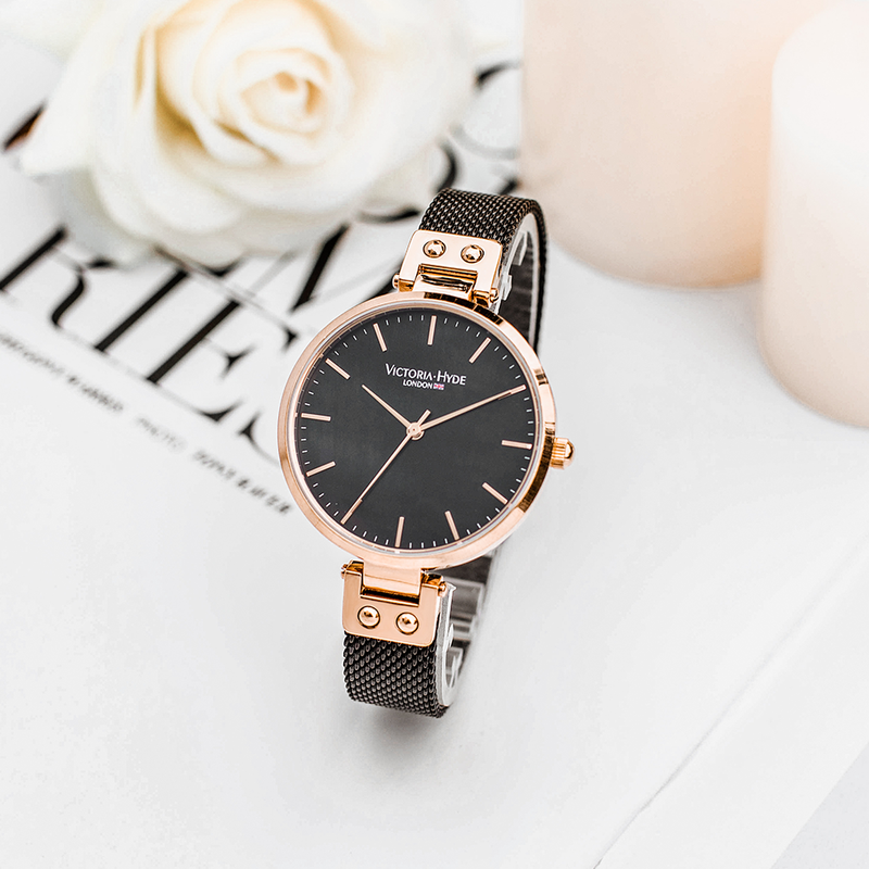 Watch River Thames Mother of Pearl Mesh Rose Gold Black