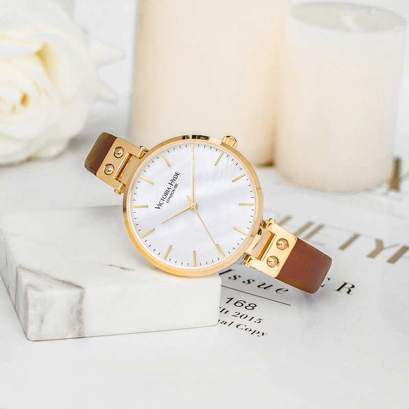 Watch River Thames Mother of Pearl Leather Gold Brown