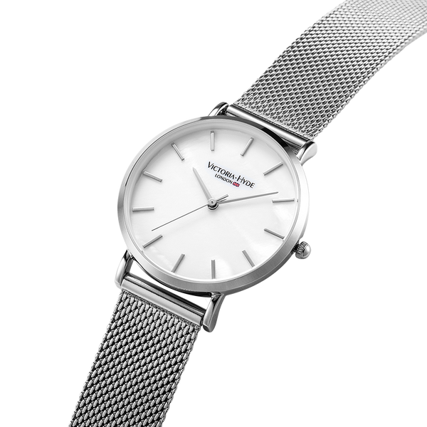 Watch Seven Sisters Mother of Pearl Mesh Silver White