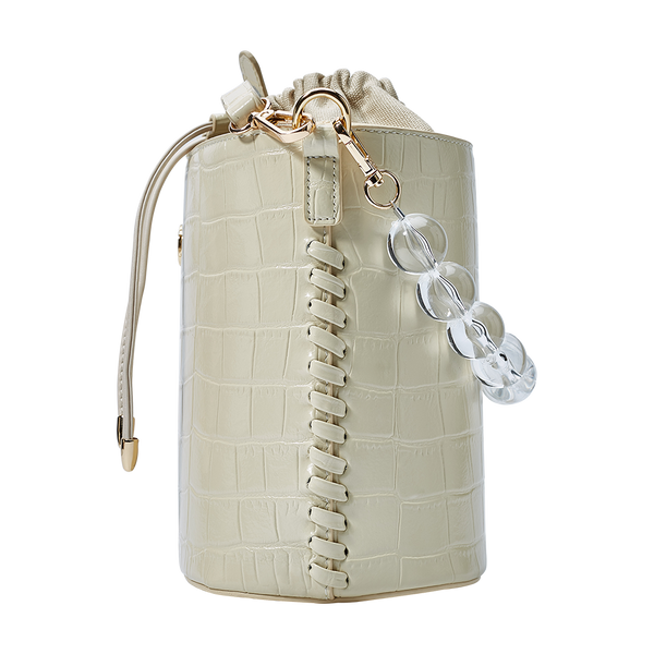 Bead Chain Bucket Bag Leather Beige