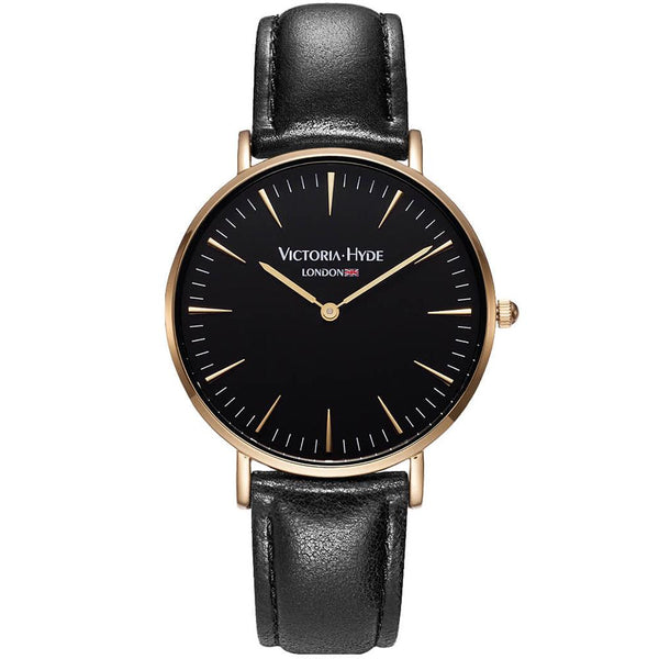 Watch Southfields Modern Leather Black Gold