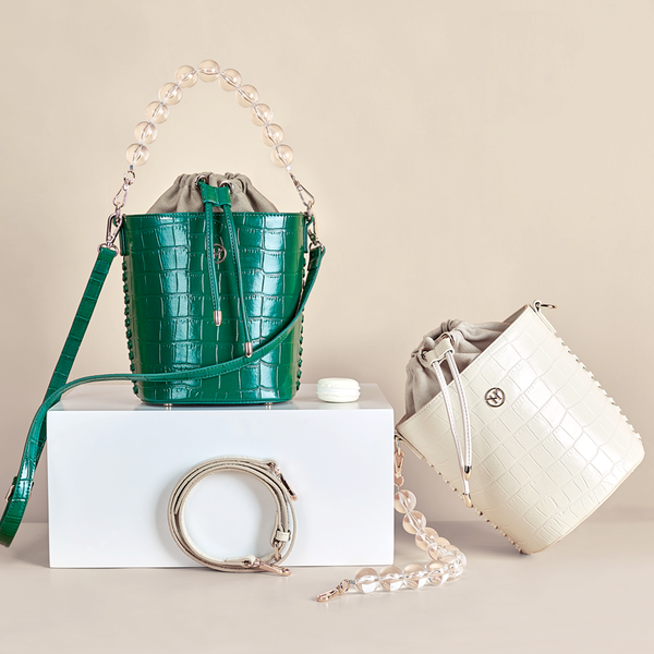 Bead Chain Bucket Bag Green
